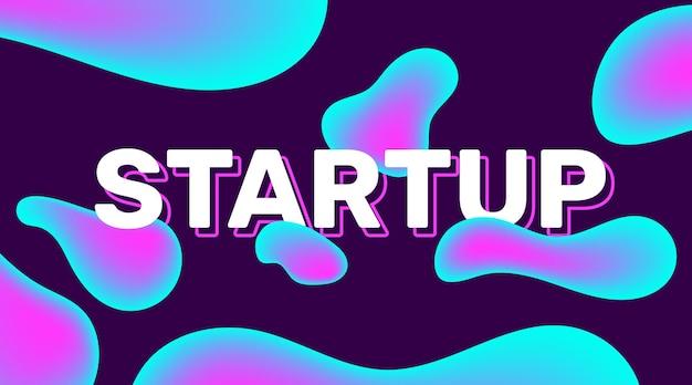 Ilustração abstrata horizontal criativa com bolha de gradiente de cor. abstração de negócios