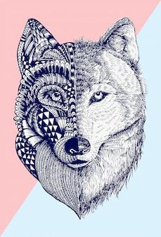 Ilustração abstrata lobo,