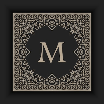 Ilustração abstrata monograma ornamental