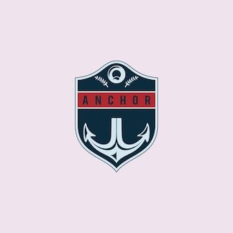 Ilustração abstrata navio âncora emblema de design de logotipo de transporte marítimo marítimo