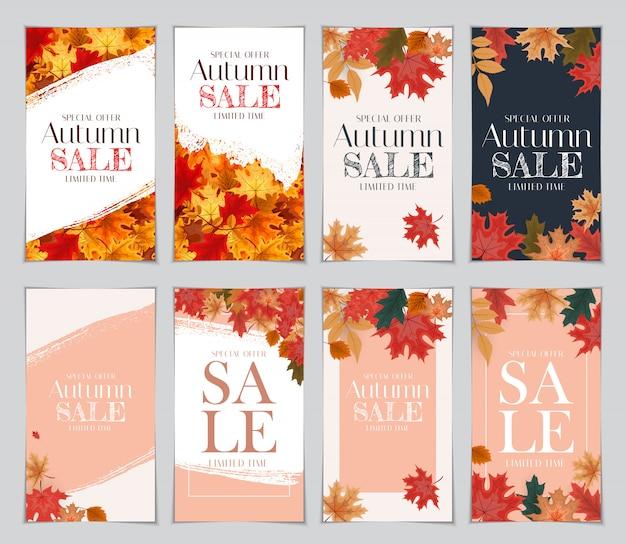 Ilustração abstrata outono venda fundo com folhas de outono caindo