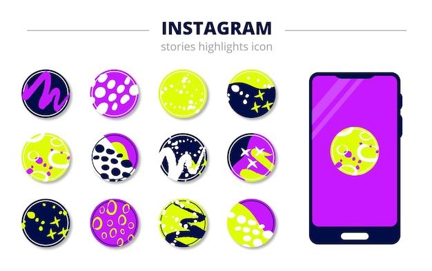 Ilustração abstrata redonda para histórias eternas no instagram, modelo de telefone