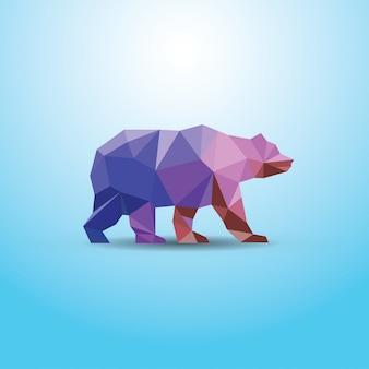 Ilustração abstrata urso poligonal