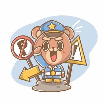 Ilustração active teddy police doodle