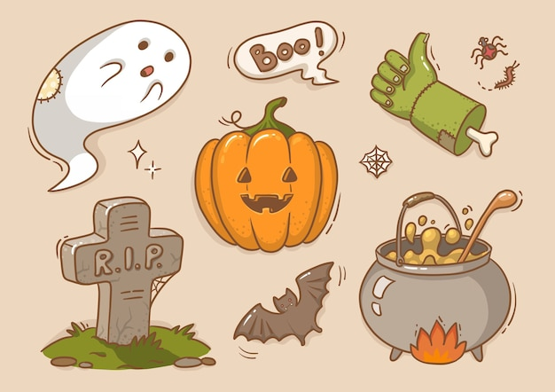 Ilustração adesivos bonitos para halloween, abóbora, fantasma