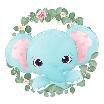Ilustração adorável bebê elefante em aquarela