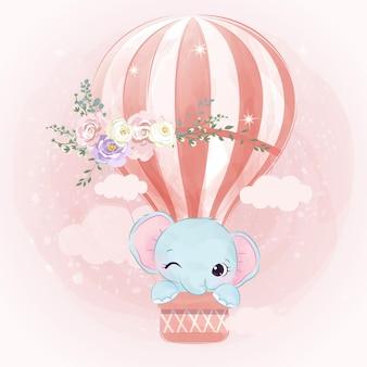 Ilustração adorável bebê elefante em efeito aquarela