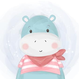 Ilustração adorável bebê hipopótamo