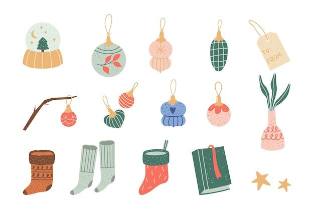Ilustração adorável com elementos aconchegantes de outono e inverno. enfeites de árvore de natal.