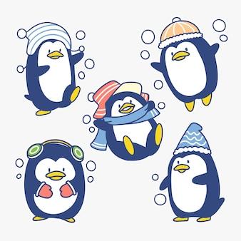 Ilustração adorável de pequeno pinguim brincalhão