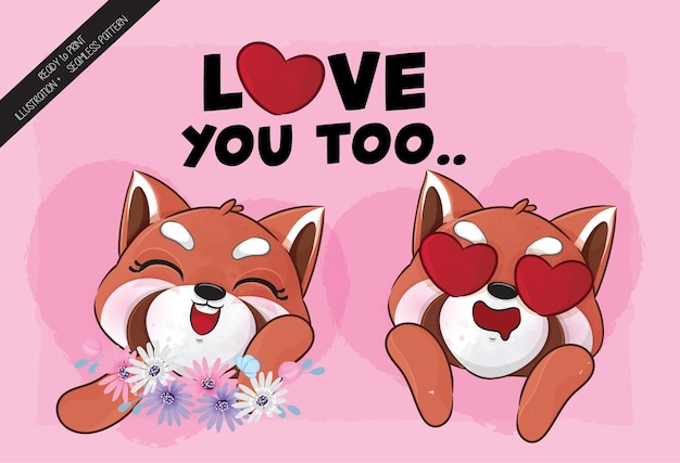Ilustração adorável do panda vermelho pequeno bonito ilustração e conjunto de padrões