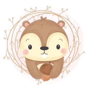 Ilustração adorável esquilo