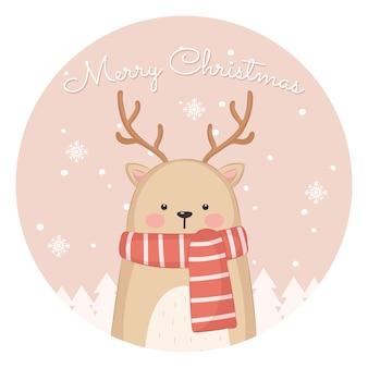 Ilustração adorável gato para cartão de natal