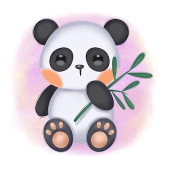 Ilustração adorável panda bebê para decoração de berçário