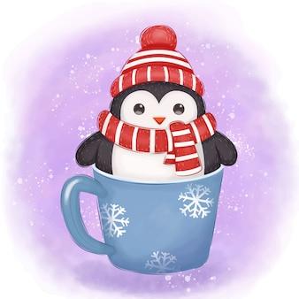 Ilustração adorável pinguim para decoração de natal