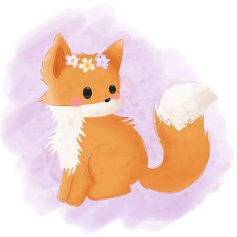 Ilustração adorável raposa bebê para decoração de berçário