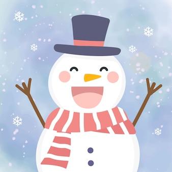 Ilustração adorável sowman para decoração de natal