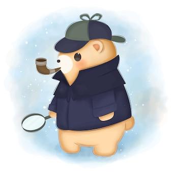 Ilustração adorável urso detetive para decoração de berçário