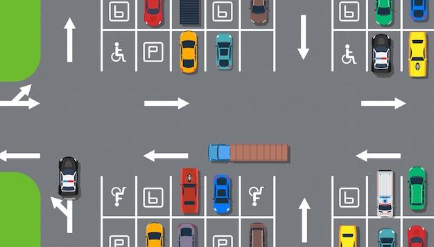 Ilustração aérea da construção da opinião superior do carro da zona de estacionamento.