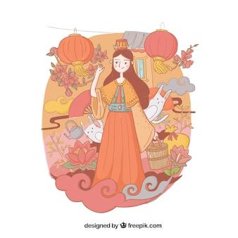 Ilustração agradável, festival do meio do outono