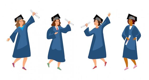 Ilustração ajustada da graduação do estudante. estudantes universitários e femininos graduam pessoas