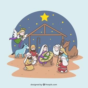 Ilustração alegre da cena da natividade