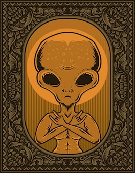 Ilustração alienígena em moldura de ornamento de gravura vintage