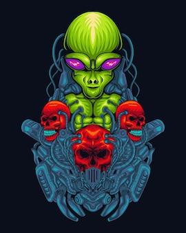 Ilustração alienígena verde com caveira, linhas coloridas digitais desenhadas à mão