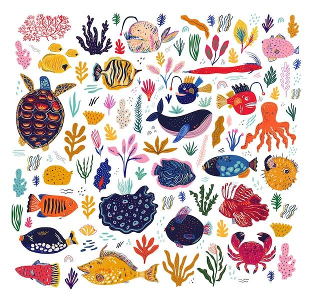 Ilustração amaizing com peixes, pescador, baleia, polvo, tartaruga e caranguejos