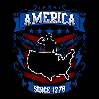 Ilustração americana com mapa e ornamento docorativo