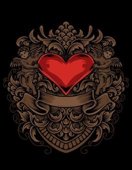 Ilustração amor coração com gravura estilo ornamento