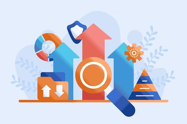 Ilustração analítica de crescimento de dados
