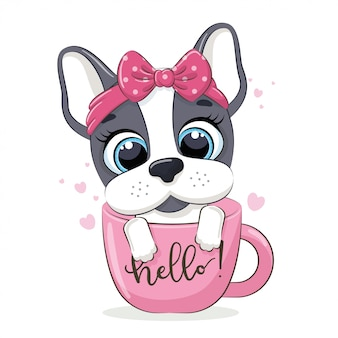 Ilustração animal com cachorrinho fofo no copo.