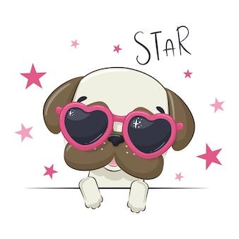 Ilustração animal com cachorro bonito garota de óculos.