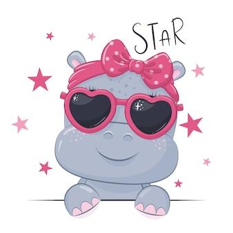 Ilustração animal com hipopótamo de linda garota com óculos.