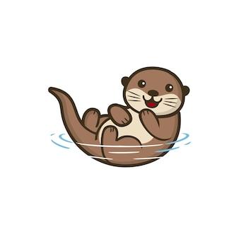 Ilustração animal cute otter