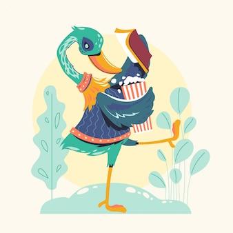 Ilustração animal do vetor dos livros de leitura dos caráteres. leitor de livros verde ganso