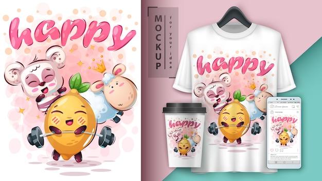 Ilustração animal feliz e merchandising