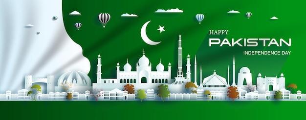 Ilustração aniversário comemoração dia do paquistão com fundo da bandeira verde