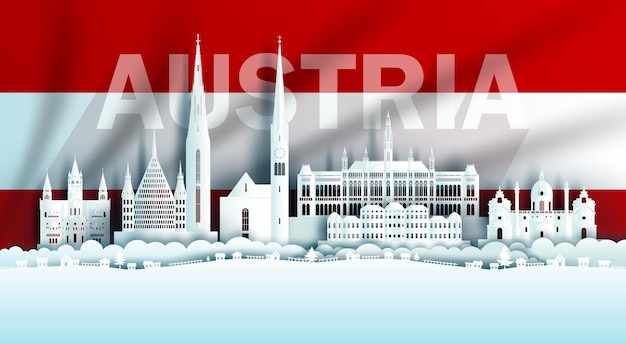 Ilustração aniversário comemoração do dia da áustria no fundo da bandeira austríaca com pontos de referência de viagens