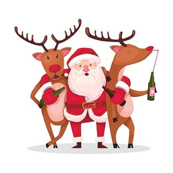 Ilustração ano novo e feliz natal.