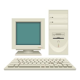 Ilustração antiga do pc do vintage no fundo branco