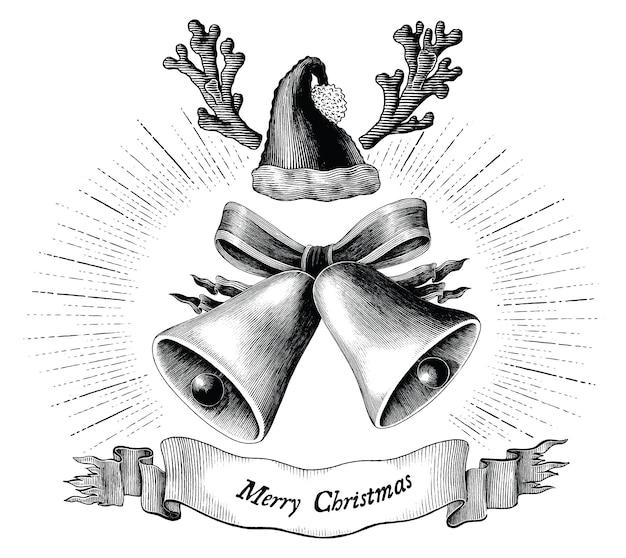 Ilustração antiga gravura do conceito de natal preto e branco, isolado no fundo branco