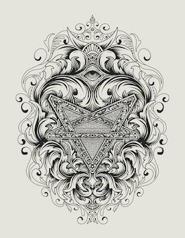 Ilustração antigo pentagrama símbolo com ornamento vintage