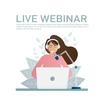 Ilustração ao vivo webinar em estilo simples com as pessoas.