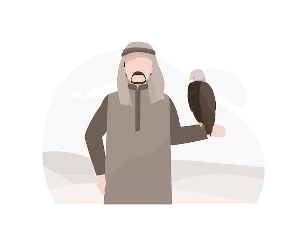Ilustração árabe do homem e da águia