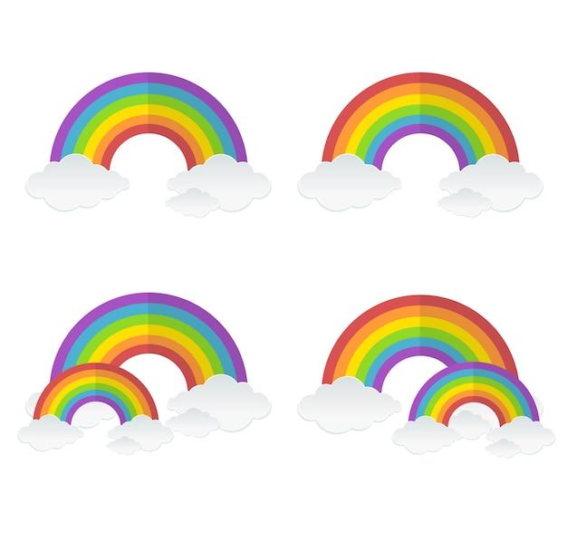 Ilustração arco-íris, arco-íris duplo e conjunto de nuvens