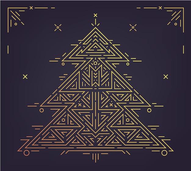 Ilustração art déco dourada da árvore de natal