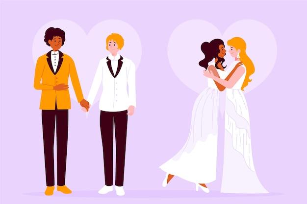 Ilustração artística com casais de casamento