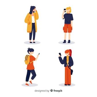 Ilustração artística com personagens segurando celulares